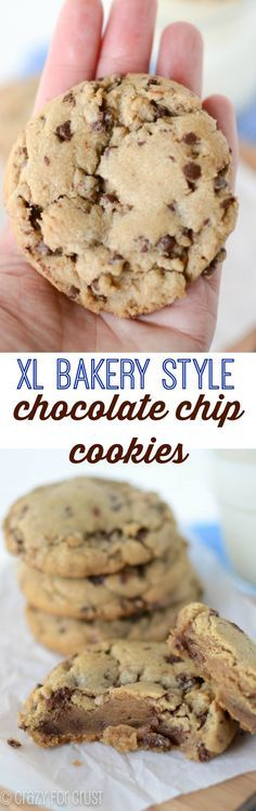 XL Bakery Style Chocolate Chip Cookies - This cookie recipe is better than the bakery! Made with brown butter the cookies are gooey, huge, and fabulous.