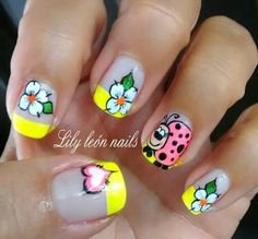 Coloridas Cute Nail Art, Cute Nails, Pretty Nails, Spring Nail Art, Spring Nails, Hair And Nails, My Nails, Nail Polish Style, Manicure And Pedicure