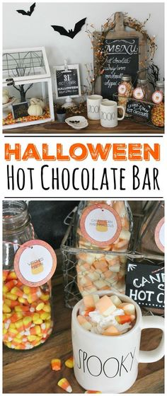 Hot Chocolate Bar Halloween Hot Chocolate Bar with free printables. Such a cute Halloween vignette!Halloween Hot Chocolate Bar with free printables. Such a cute Halloween vignette! Halloween Drinks, Holidays Halloween, Fall Halloween, Vintage Halloween, Halloween Decorations, Halloween Party, Halloween Masquerade, Happy Halloween, Halloween Night