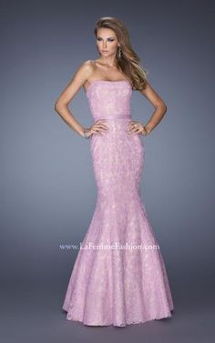 LaFemme designer prom dresses lace mermaid prom dress also makes a great informal wedding dress in white!