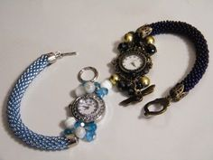 Bead crochet watch Peyote Beading Patterns, Beaded Jewelry Patterns, Bracelet Patterns, Beaded Bracelets Tutorial, Diy Bracelets Easy, Bead Jewellery, Jewelery, Beaded Watches, Watch Diy