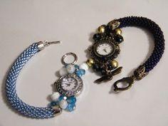 Bead crochet watch Beaded Bracelets Tutorial, Diy Bracelets Easy, Beaded Jewelry Patterns, Bracelet Patterns, Beaded Watches, Watch Diy, Stylish Watches, Bead Jewellery, Bead Crochet