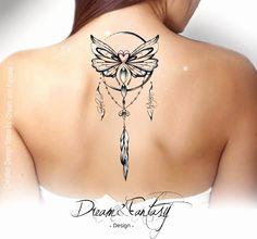 Design Tattoo – Papillon – Krebs – Traumfänger – Attrape rêve – # can… - tatoo feminina Back Tattoos, Body Art Tattoos, Small Tattoos, Sleeve Tattoos, Cool Tattoos, Tatoos, Feather Tattoos, Flower Tattoos, Dreamcatcher Tattoos