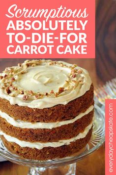 In this world there is carrot cake and then there is scrumptious absolutely to-die-for carrot cake—the kind of cake you've only experienced… Brownie Desserts, Oreo Dessert, Mini Desserts, Just Desserts, Dessert Recipes, Easter Desserts, Easter Recipes, Homemade Cake Recipes, Carrot Recipes
