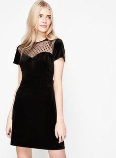 Spot Mesh Velvet Dress