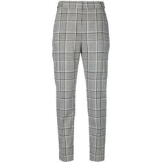 Alexander Wang plaid trousers ($827) ❤ liked on Polyvore featuring pants, black, tartan trousers, plaid trousers, patterned pants, high-waist trousers and cropped trousers
