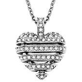 Swarovski Necklace, Rhodium-Plated Small Crystal Sensible Heart Pendant Necklace