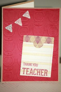 One Handmade Teacher Thank You Gift Card Holder by strandedpaper,