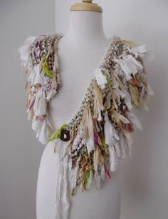 cream beige recycled sari silk scarf collar by by plumfish on Etsy