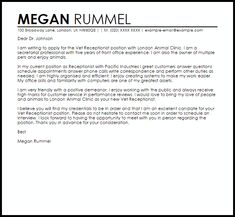 Cover Letter Template Veterinary Receptionist | 2-Cover Letter ...
