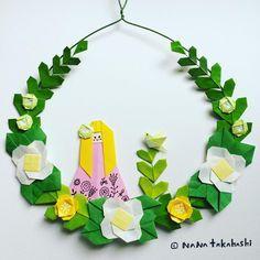 小鳥と女の子。 A birds and a girl. #wreath #garland #wreathflower #interiordecorating #origami #papercraft #paperflower #girly #bird #nanatakahashi #おりがみ #折り紙 #お花 #ペーパーフラワー #ペーパークラフト #ガーランド #リース #ガーリー #小鳥 #壁飾り #たかはしなな