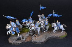 https://flic.kr/p/ECkQEF | Farmir & Elite Minas Tirith Knights 1 | Farmir & Elite Minas Tirith Knights from the Lord of the Rings series of miniatures by Games Workshop with bombardment movement tray. Painted by BrushStroke