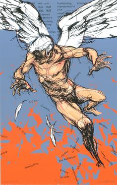 Derek Hess - my chest piece Icarus Tattoo, Derek Hess, Art Music, American Artists, Figure Drawing, Line Art, Mythology, Art Drawings, Art Photography