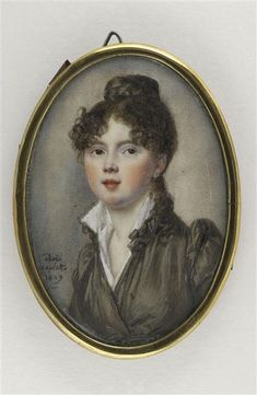 Adèle Laplatte, Portrait of a young woman wearing taupe dress, 1809