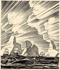 Rockwell Kent - illustrations for Moby Dick Love the cloud hatching