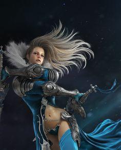 The sword dance of blue, Bumoun Lee on ArtStation at https://www.artstation.com/artwork/the-sword-dance-of-blue