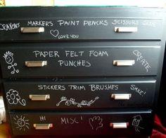 Cute, cute, cute.  Great idea for kids craft storage (grownups too)!