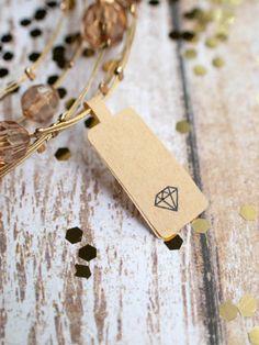 Diamond sticker label price tag brown kraft by ctdscraftsupply