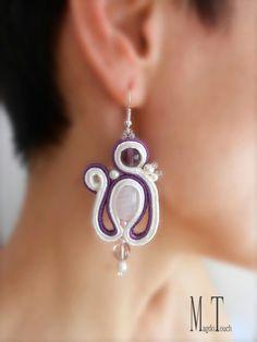 'Cupcake' ooak soutache earrings, original design, modern earrings, artistic earrings, jewelry artwork, simple earrings, art nouveau earrings