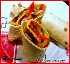 Τορτίγιες με λαχανικά 2 #sintagespareas Cookbook Recipes, Cooking Recipes, Street Food, I Foods, Sandwiches, Food And Drink, Menu, Mexican, Ethnic Recipes