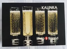Iittala Kalinka Champagne glasses designed by Timo Sarpaneva Finland. Boxed set of Finnish Glass Lassi, Glass Company, Champagne Glasses, Vintage Glassware, Glass Design, Finland, Scooby Doo, Light Bulb, Glass Vase