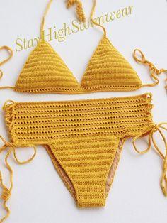 Ganchillo Bikini triángulo Bikini Top mujeres por StayHighSwimwear