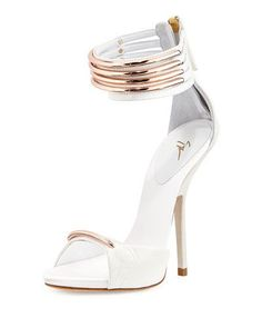 Love these shoes by GIUSEPPE ZANOTTI Leather Multi-Strap Sandal, White/Copper - $1113 (40%Off)