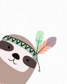 This item is unavailable Aztec Nursery, Nursery Art, Nursery Decor, Decoration Creche, Woodland Nursery Prints, Tribal Animals, Sloths, Woodland Animals, Rock Art