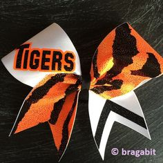 Check out Tigers cheer bow on bragabitbows Volleyball Bows, Cheerleading Gifts, Cheer Stunts, Cheer Gifts, Cheer Dance, Cheer Bows, Softball Stuff, Varsity Cheer Uniforms, Cheer Routines