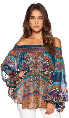 Camilla Off the Shoulder Blouse in Braided Nation   REVOLVE