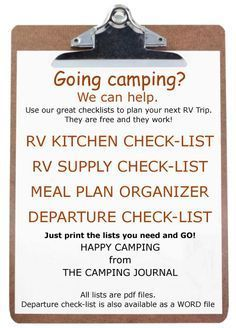 Pin now, read later.....Camping/RV Checklist.  Kitchen, Supply, Meal Plan, Departure