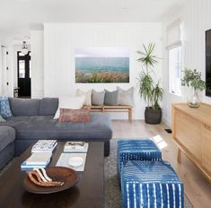 East Coast beach vibes meet modern farm house in this Amber Interiors design! We love the choice of art in this space.