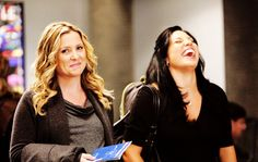 "My fave picture of these two.  Makes you wonder what was said....  Arizona (Jessica Capshaw) and Callie (Sara Ramirez) of ""Grey's Anatomy""."
