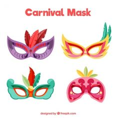 Colorful carnival masks with feathers
