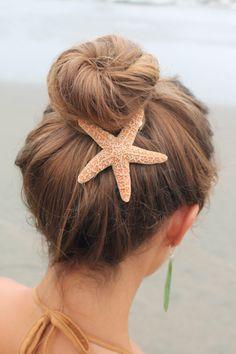 Baja Starfish Hair Barrette, starfish hairclip, beach wedding, mermaid accessory by PoppyCoast on Etsy https://www.etsy.com/listing/111153350/baja-starfish-hair-barrette-starfish