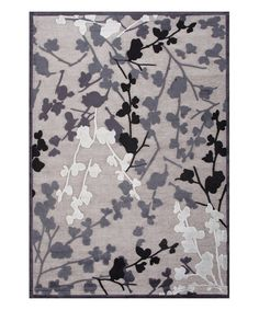 This Gray & Black Floral Silk & Chenille Rug is perfect! #zulilyfinds
