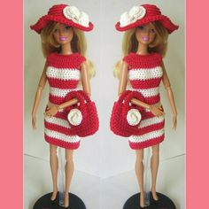 Handmade barbie doll outfit red white dress hat bag #RDB