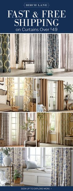Curtains At Birchlane.com! Sign Up To Find Out More About FREE SHIPPING On