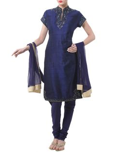 Shop Navy Blue Silk Straight Suit Set By Rohit Bal online at Biba.in - RB#3701NBLU
