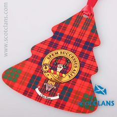 Ross Clan Crest and Tartan Tree Christmas Ornament. Free worldwide shipping available