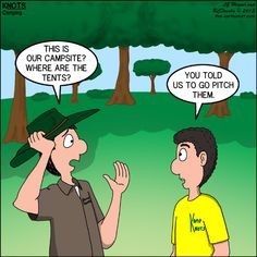 Tent Pitching - KNOTS Scout Cartoon for February 2015