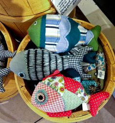 She's suddenly into fishing? ... What the!  These are super cute though, and I could hide a magnet inside the fabric 'mouth', then she can go fishing with a nice string magnet