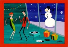 Mod retro Christmas art - Baby, It's Cold Outside!