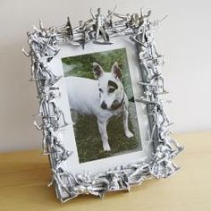 DIY: Army Men Frame  Cute idea for a military picturre...