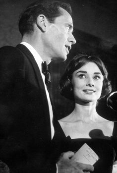 Audrey Hepburn and Mel Ferrer at the London premiere of War and Peace, 1956.