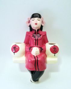 Items similar to Weil Ware Asian Lady Mid-Century Wall Pocket in Deep Rose on Etsy Chinese Figurines, Wall Pockets, Vintage Pottery, Asian Woman, Mid Century, Deep, Christmas Ornaments, Disney Princess, Holiday Decor