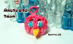 Angry bird rosa con gomitas/  angry bird Rainbow loom pink