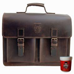 Herren Aktentasche EINSTEIN 2.0 aus braunem Ranger Leder inkl.Lederpflege von BARON von MALTZAHN