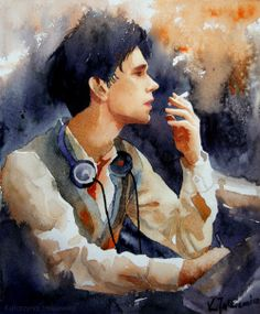 Freddie Lyon from 'The Hour'. Watercolours on paper.