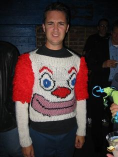 Wil Wheaton is an oh-so-attractive Bozo sweater. Ugly Sweater Contest, Ugly Xmas Sweater, Christmas Sweaters, Christmas Gifts, Tacky Christmas, Christmas Stuff, Darwin Awards, Carnival, Costumes